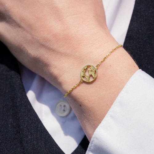 Globe World Map Bracelet Gold