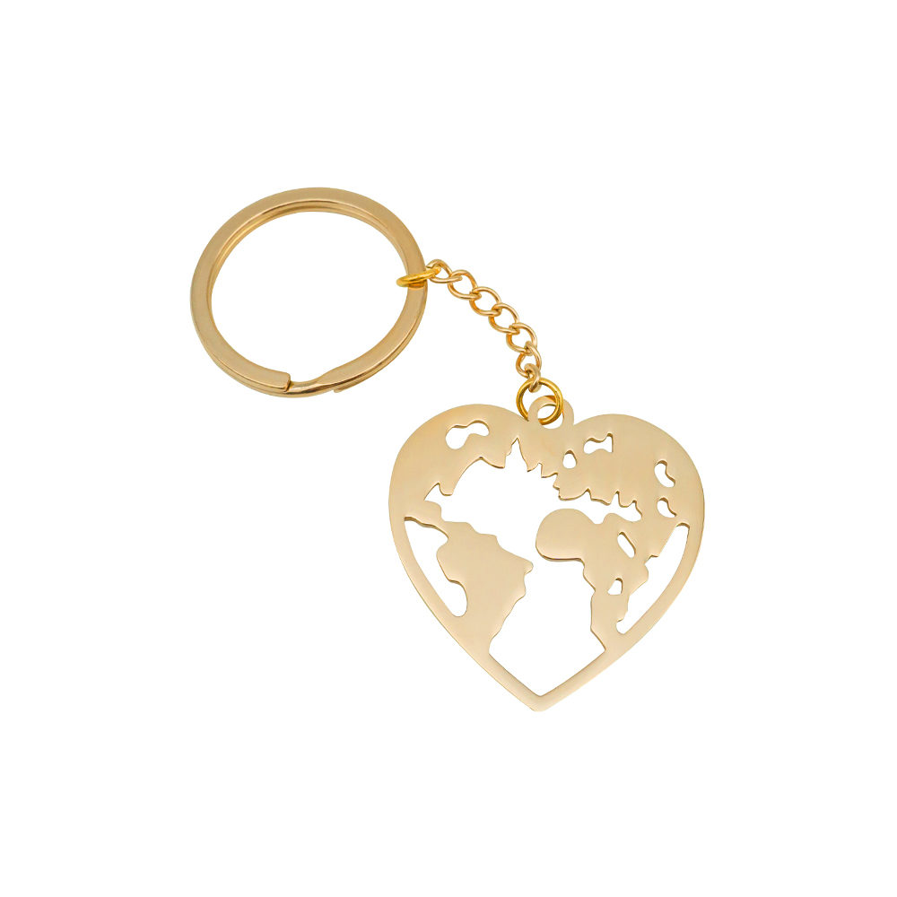 Wanderlust World Map Keychain Rose Gold