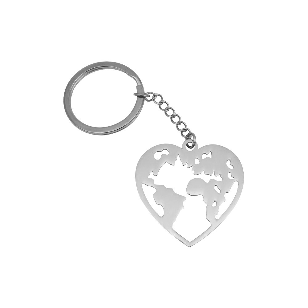Wanderlust World Map Keychain Silver