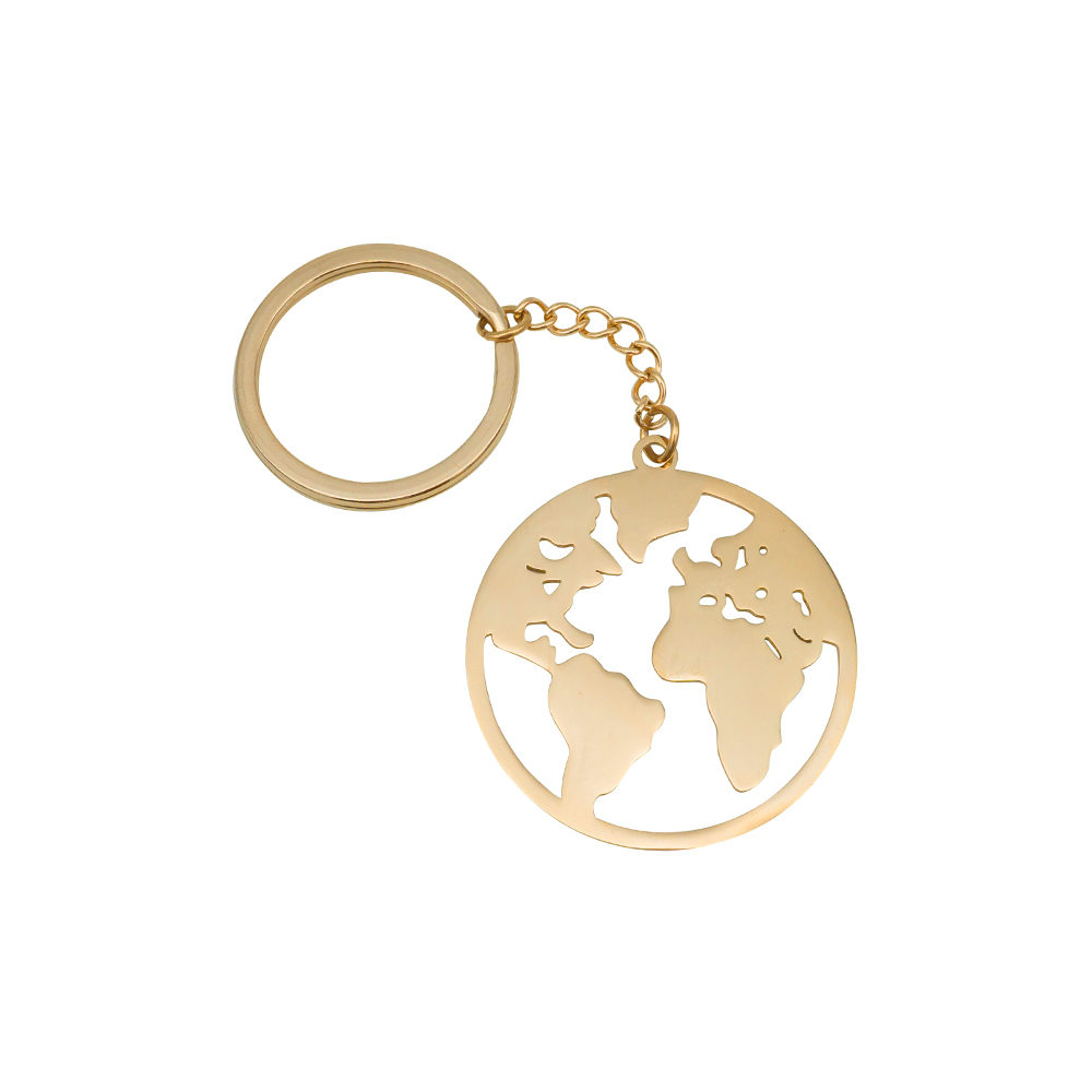 World Map Keychain Rose Gold